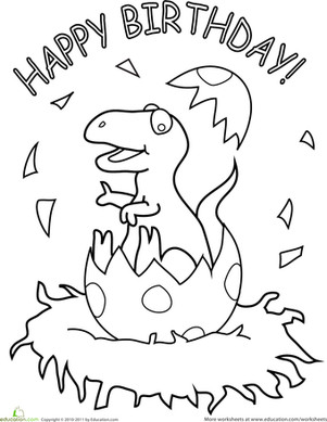 Happy Birthday Coloring Pages Preschool Dinosaurs Coloring Pages & Printables