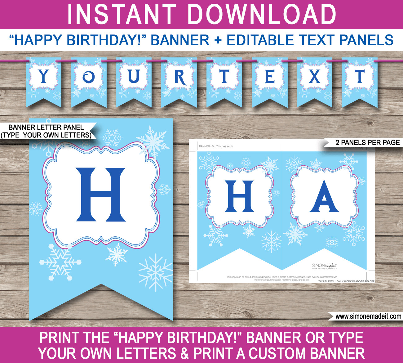 Happy Birthday Sign Template Frozen Party Banner Template Birthday Banner