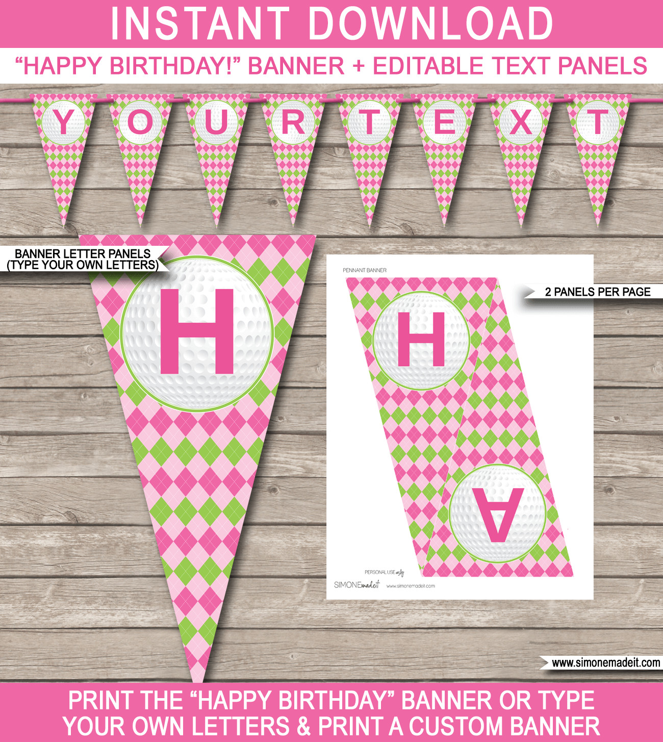 Happy Birthday Sign Template Girls Golf Birthday Banner Template