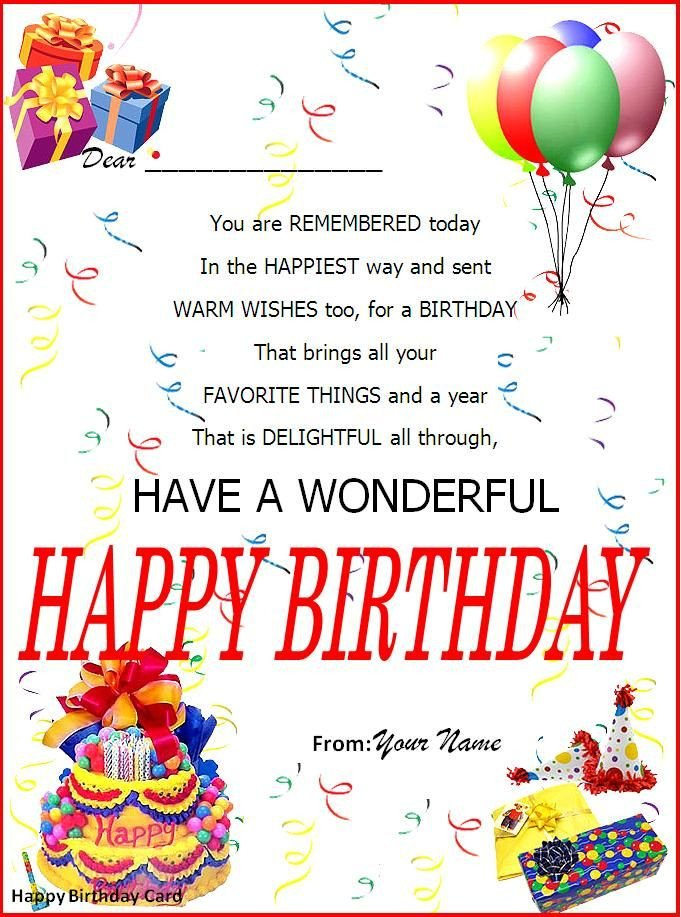 Happy Birthday Template Word Birthday Card Word Template