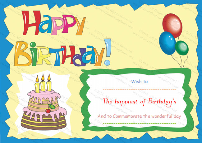 Happy Birthday Template Word Birthday Gift Certificate Templates Certificate Templates