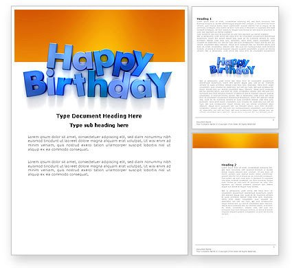 Happy Birthday Template Word Happy Birthday Word Template