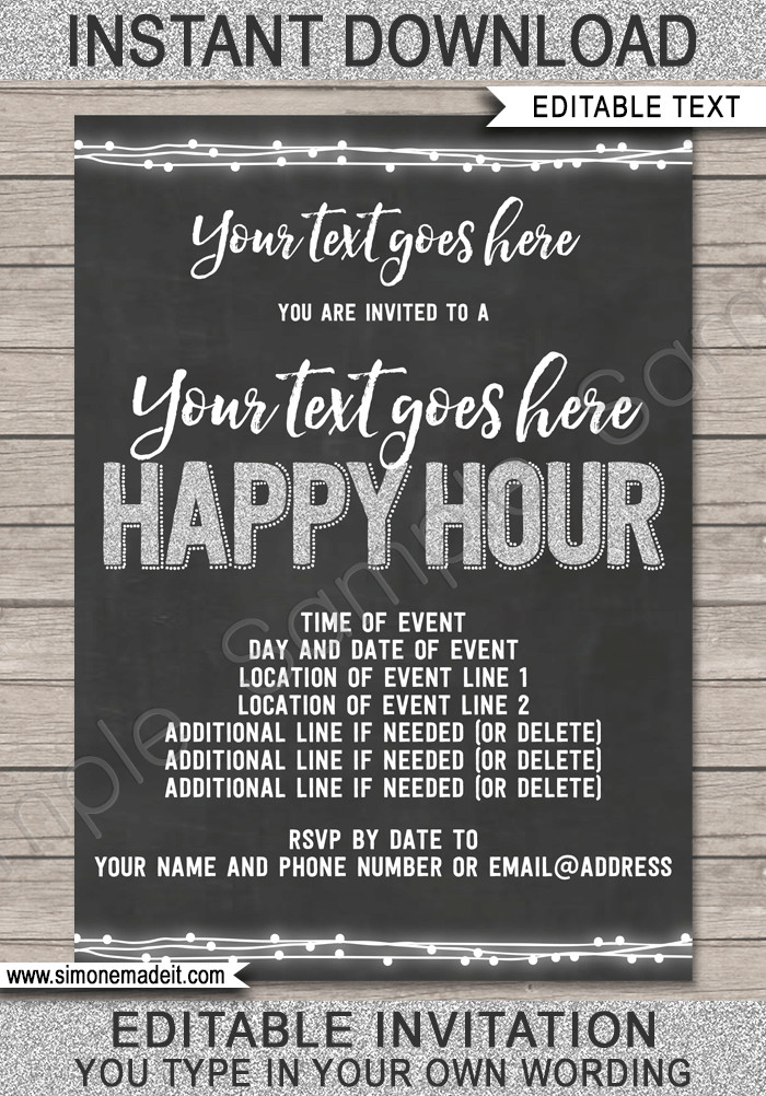 Happy Hour Invitation Template Happy Hour Invite Template