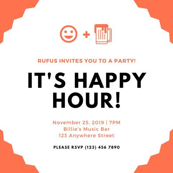 Happy Hour Invitation Templates Customize 89 Happy Hour Invitation Templates Online Canva