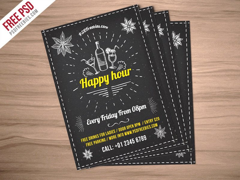 Happy Hour Invitation Templates Freebie Happy Hour Party Invitation Flyer Free Psd by