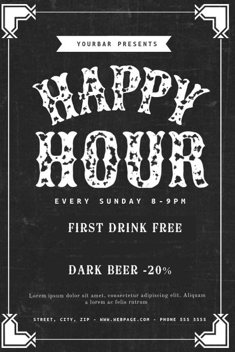 Happy Hour Invitation Templates Happy Hour Flyer Template