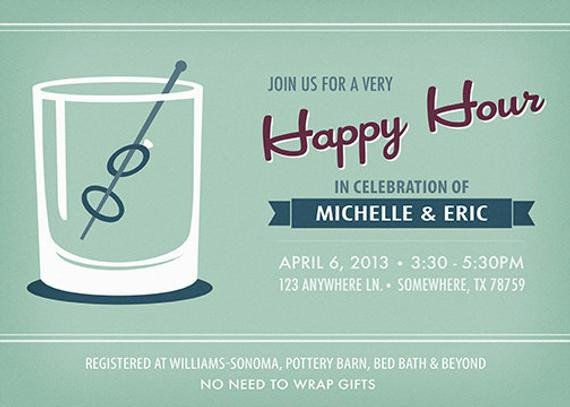 Happy Hour Invitation Templates Happy Hour Wedding Shower Invitation Printable by