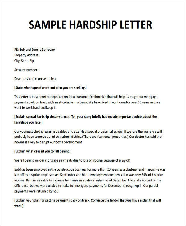 Hardship Letter to Creditors Template 6 Hardship Letter Templates 6 Free Sample Example