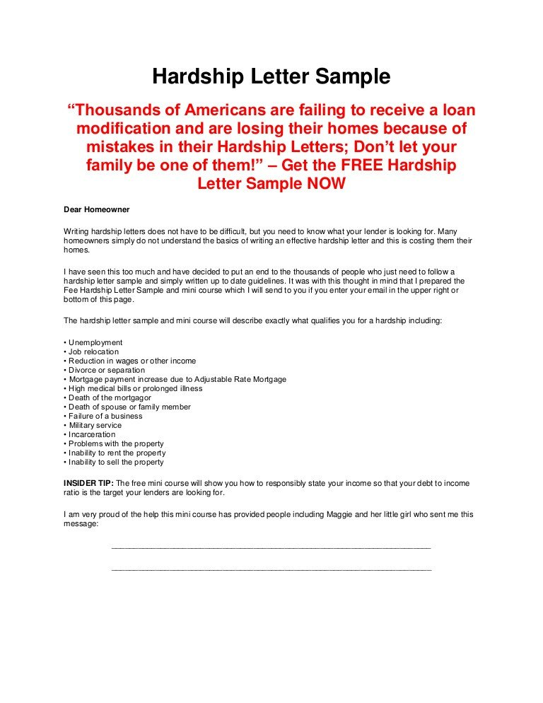 Hardship Letter to Creditors Template Hardship Letter Sample