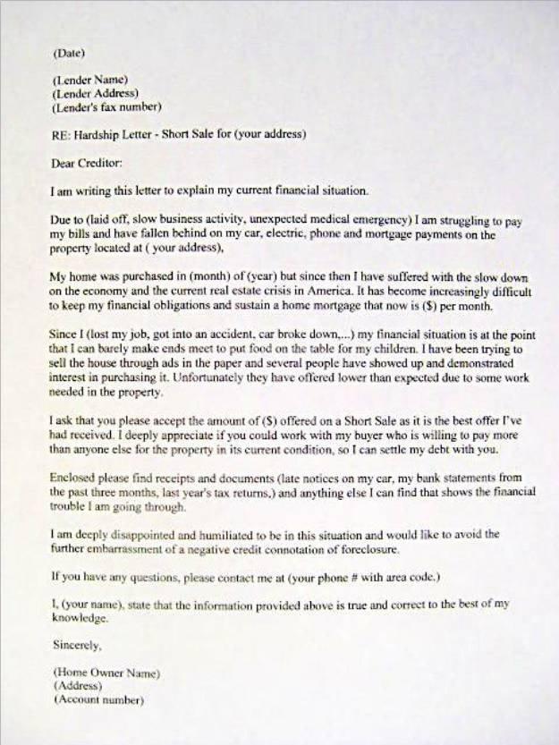 Hardship Letter to Creditors Template Sample Hardship Letter Mortgage Bank foreclosure Short