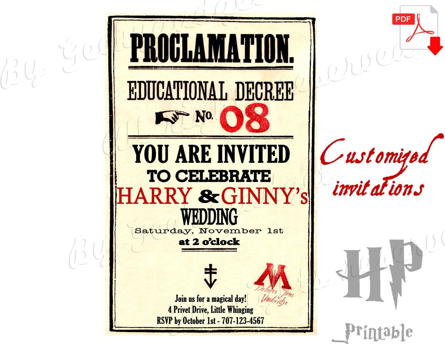 Harry Potter Proclamation Template Customized Save the Date Wedding Invitations Educational
