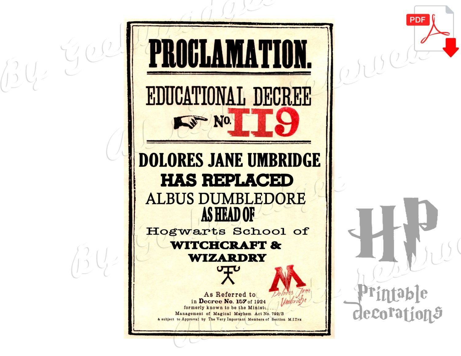 Harry Potter Proclamation Template New Headmaster Educational Decree 119 Dolores Umbridge