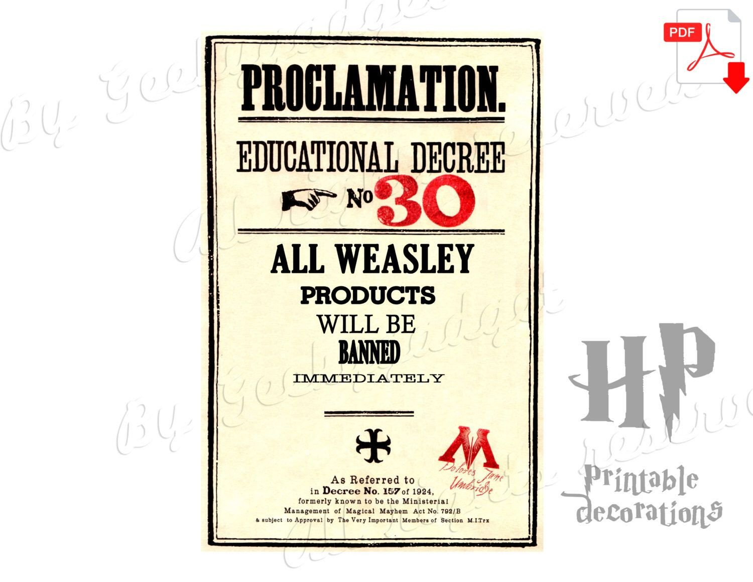 Harry Potter Proclamation Template Weasley Products Educational Decree Proclamation 30