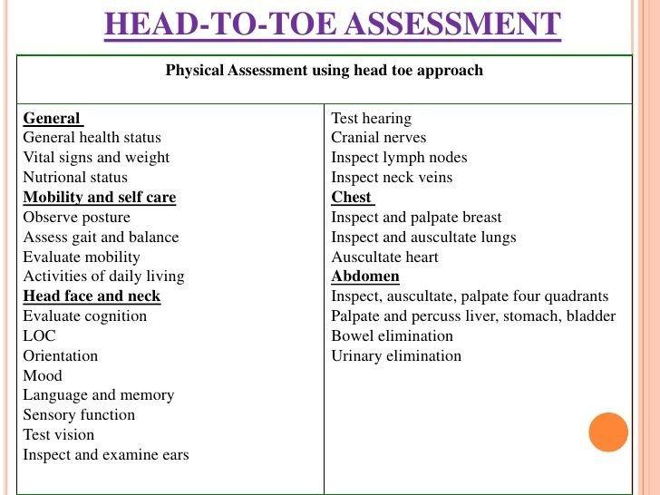 Head to toe assessment Template Nursing assessment Body Pinterest
