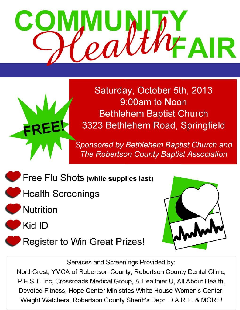 Health Fair Flyer Template Free Free Munity Health Fair October 5th