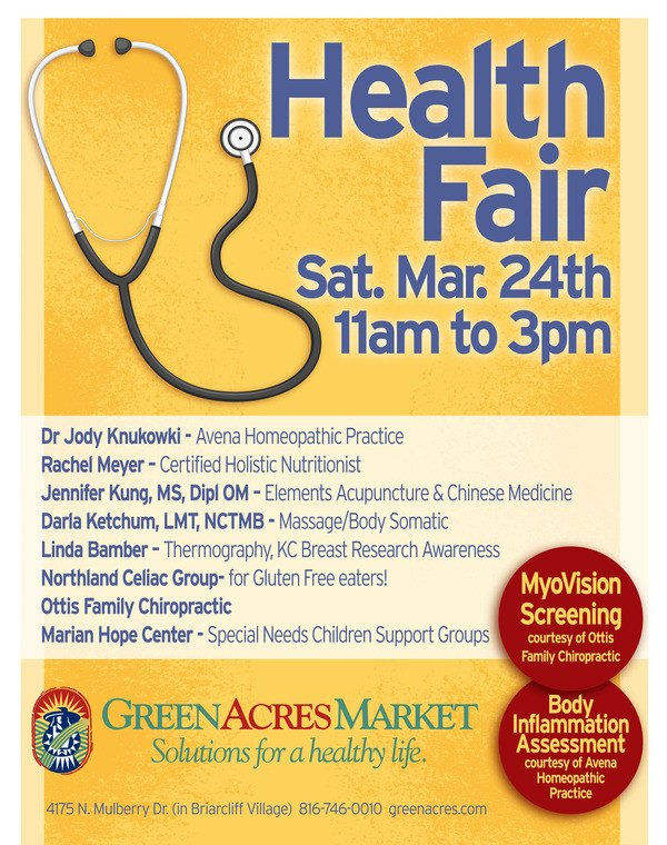 Health Fair Flyer Template Free Health Fair at Green Acres Market