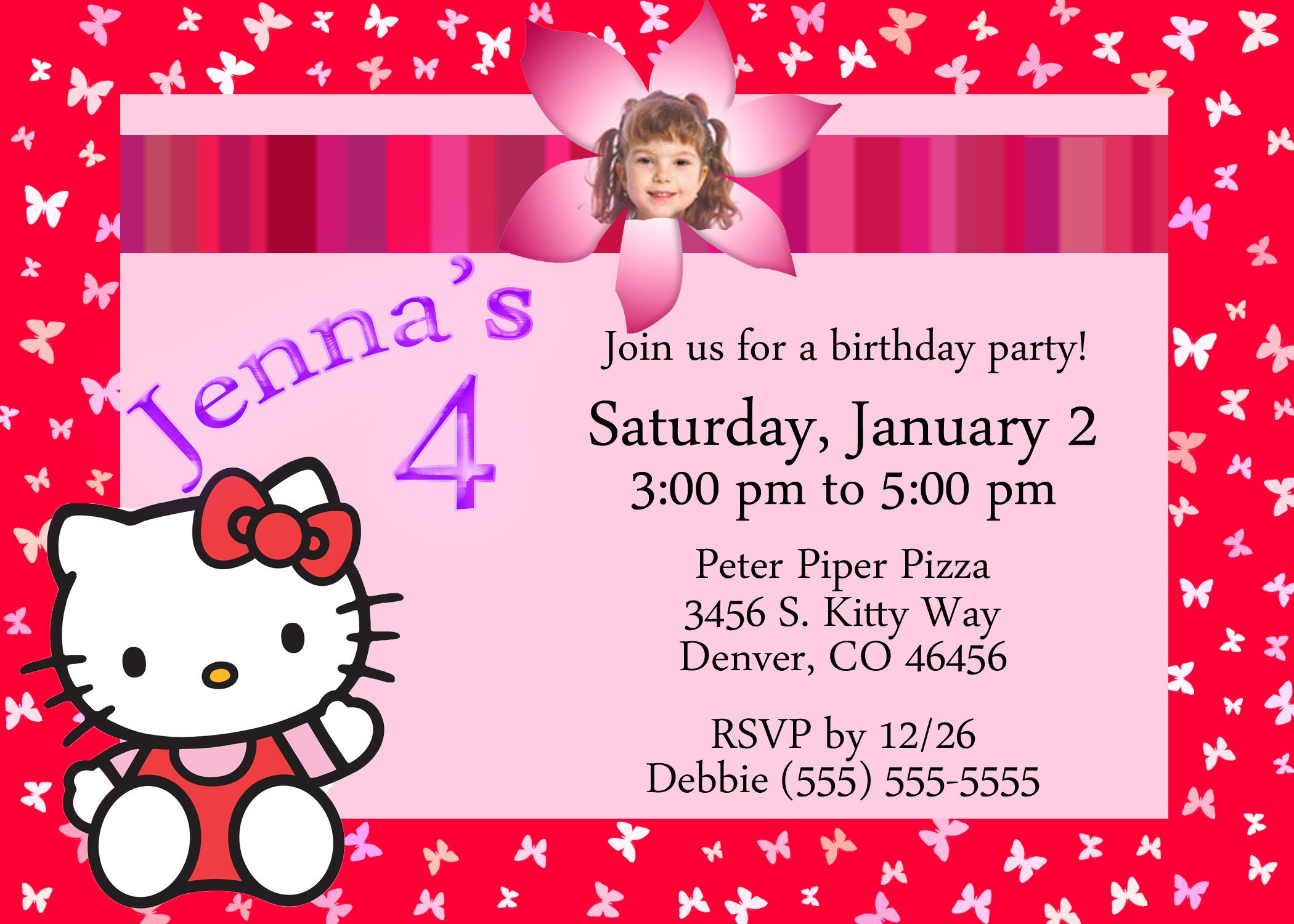 Hello Kitty Birthday Invitation Hello Kitty Birthday Invitation