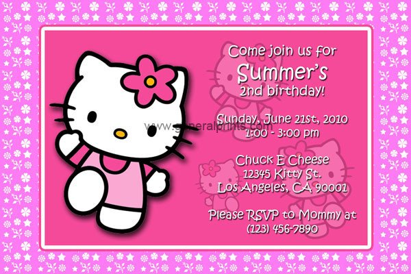Hello Kitty Birthday Invitation Hello Kitty Birthday Invitations
