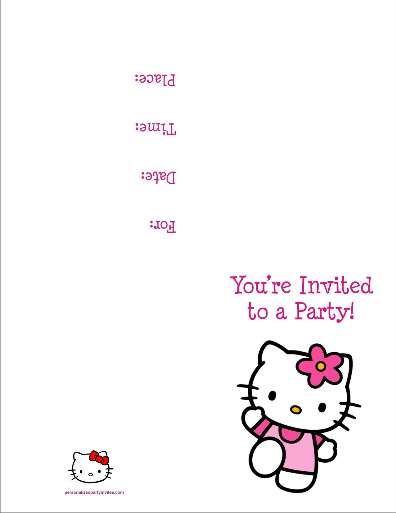 Hello Kitty Birthday Invitation Hello Kitty Free Printable Birthday Party Invitation
