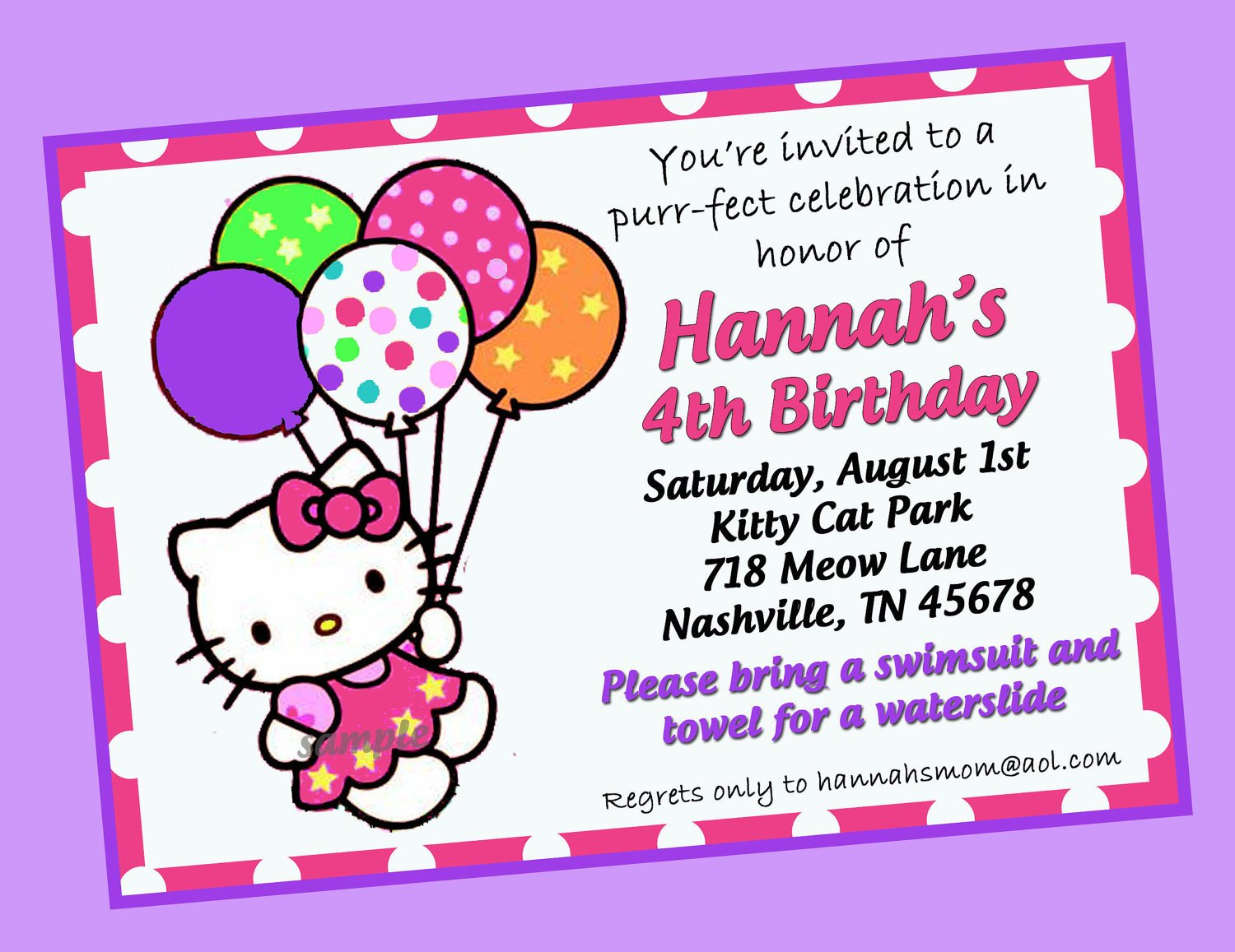 Hello Kitty Birthday Invitation Hello Kitty Invitation Printable