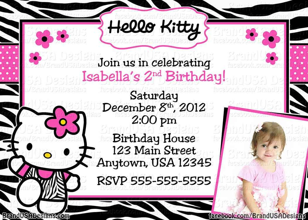 Hello Kitty Birthday Invitation Hello Kitty Invitation Templates
