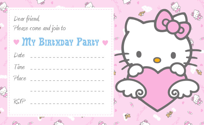 Hello Kitty Birthday Invitation Hello Kitty Printable Birthday Invitations Template