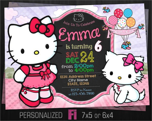 Hello Kitty Invite Template 11 Hello Kitty Invitations Word Psd Indesign
