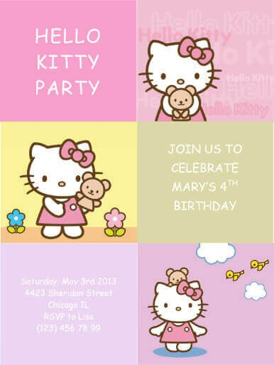 Hello Kitty Invite Template 33 Free Diy Printable Party Invitations for Kids