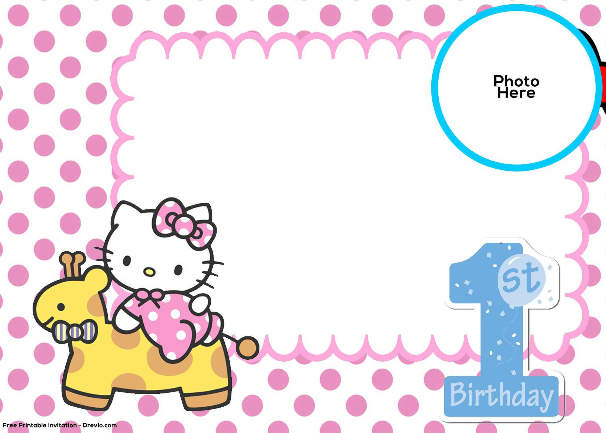 Hello Kitty Invite Template Free Hello Kitty 1st Birthday Invitation Template