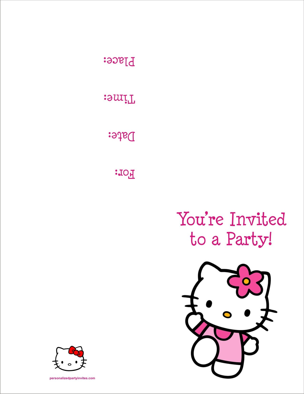 Hello Kitty Invite Template Free Printable Hello Kitty Birthday Party Invitations