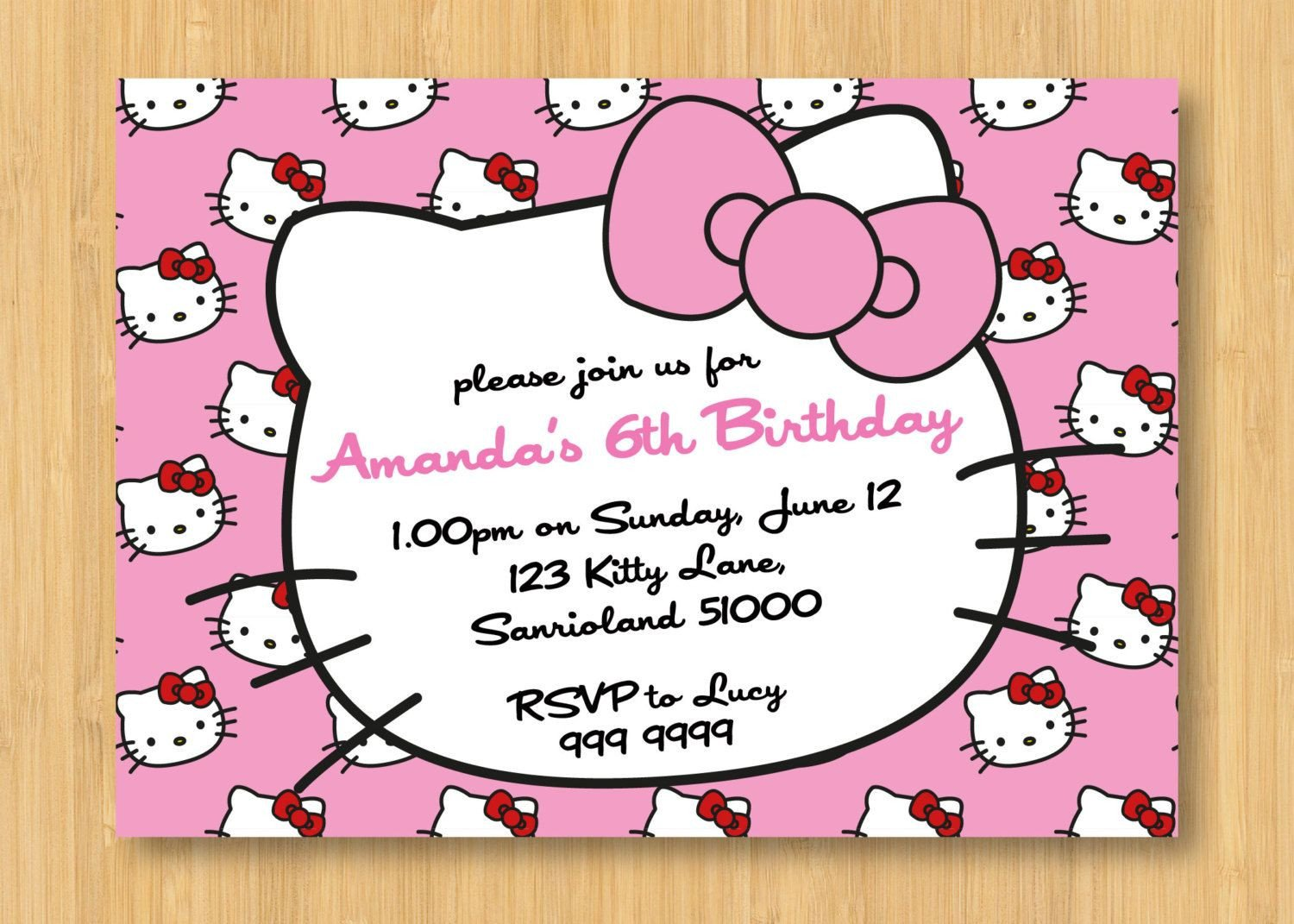 Hello Kitty Invite Template Hello Kitty Birthday Invitations Printable Free
