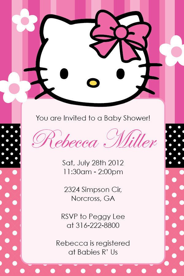 Hello Kitty Invite Template Hello Kitty Girl Birthday Party or Baby Shower Custom