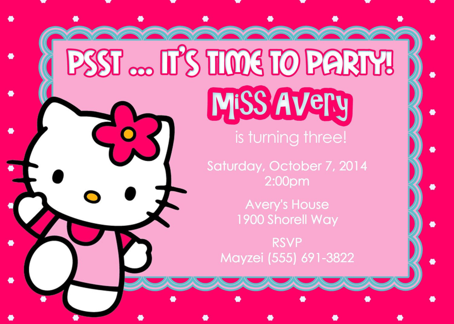 Hello Kitty Invite Template Invitation Cards