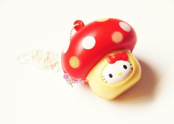 Hello Kitty Squishy Tag Hello Kitty In A Mushroom Squishy with Tags · Uber Tiny