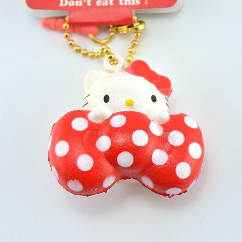 Hello Kitty Squishy Tag Kawaii Licenced Hello Kitty Squishy soft Sweet Red Dot Bow
