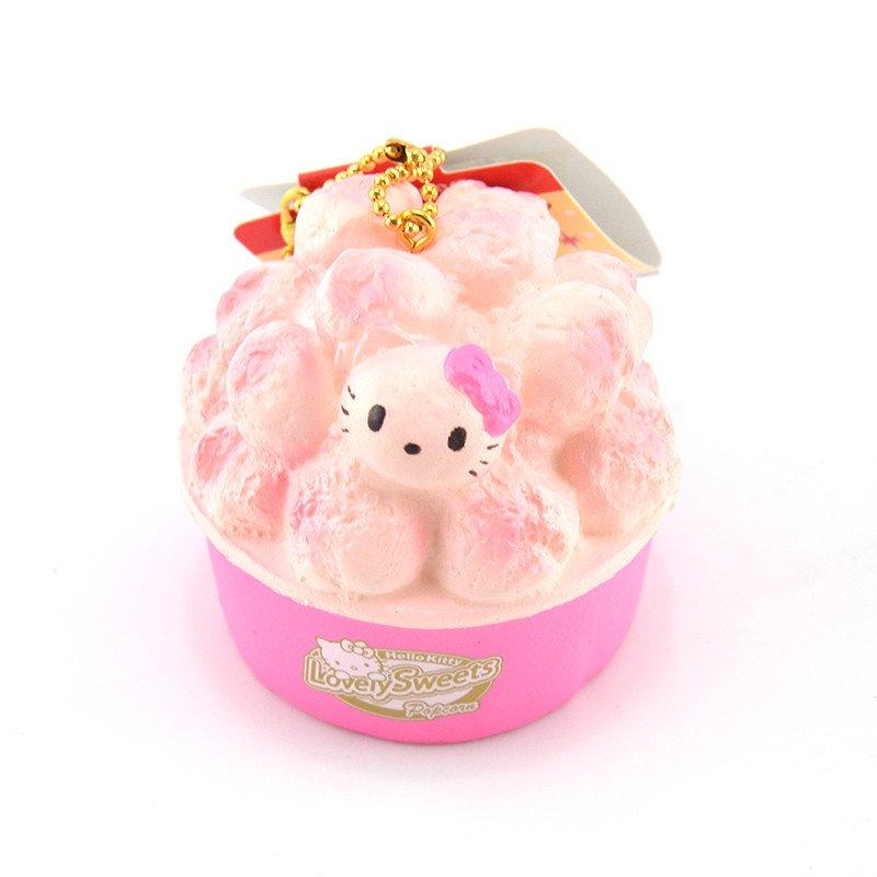 Hello Kitty Squishy Tag New Cute Hello Kitty Popcorn Squishy soft Sweet Pink
