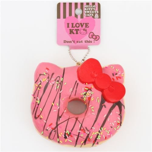 Hello Kitty Squishy Tag Pink Sprinkles Hello Kitty Donut Squishy Charm for
