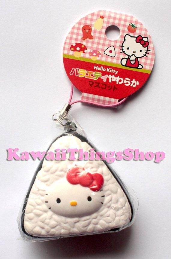 Hello Kitty Squishy Tag Rare Sanrio Hello Kitty Igiri Rice Squishy Strap