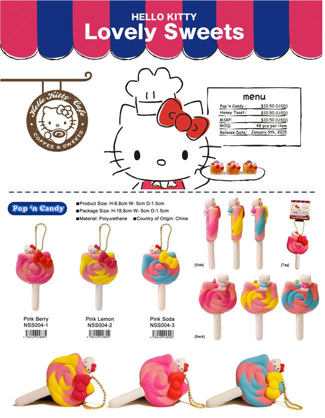 Hello Kitty Squishy Tag Sanrio Hello Kitty Lovely Sweets Pop N Candy Squishy