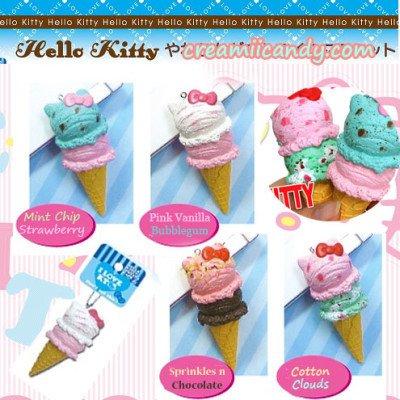 Hello Kitty Squishy Tag Super Rare Sanrio Hello Kitty Double Scoop Ice Cream Squishy