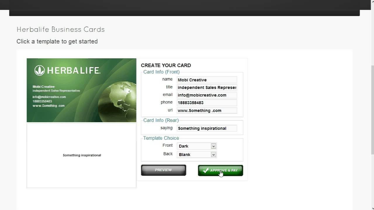 Herbalife Business Card Template Herbalife Business Card Template ordering