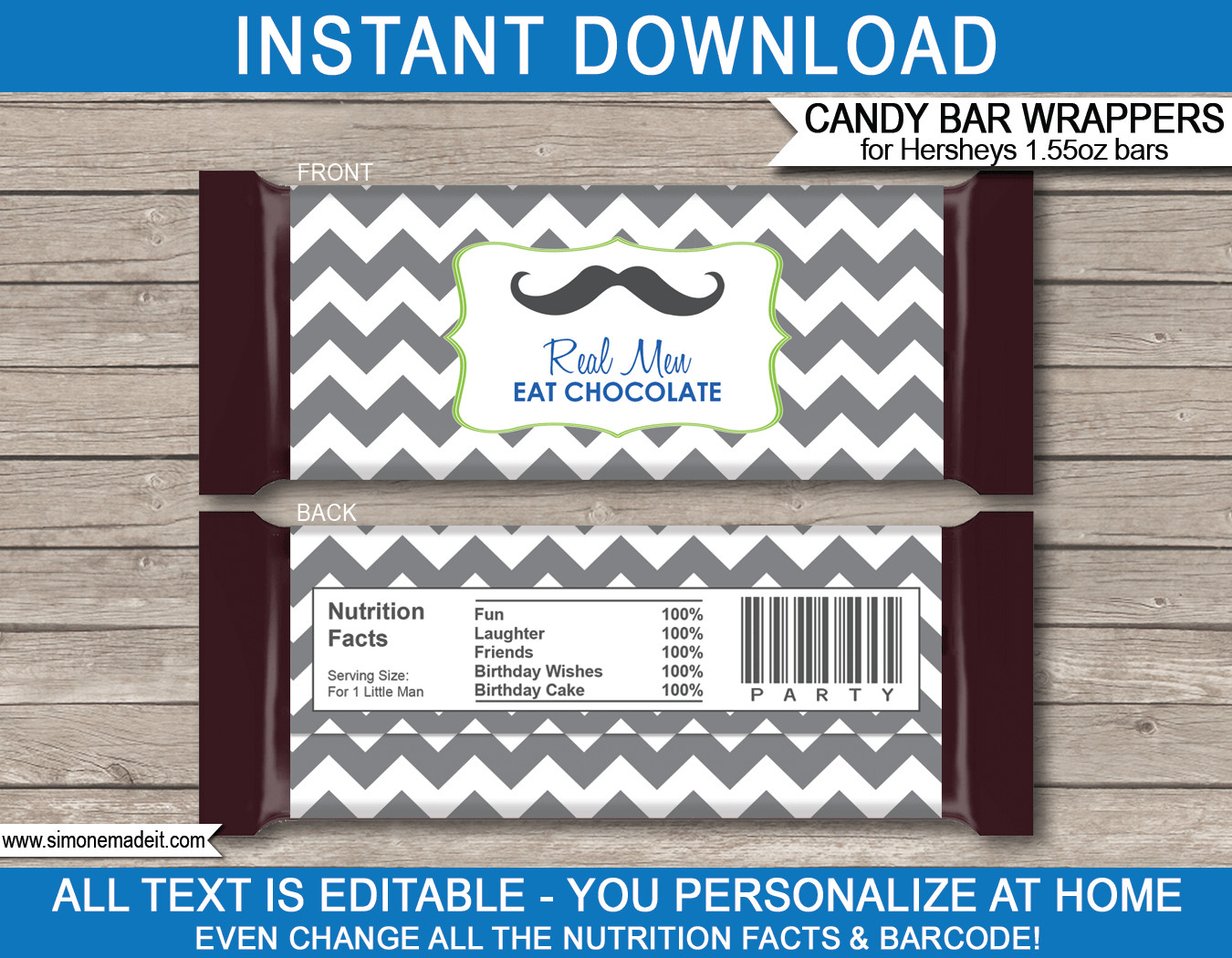 Hershey Bar Wrapper Template Mustache Hershey Candy Bar Wrappers