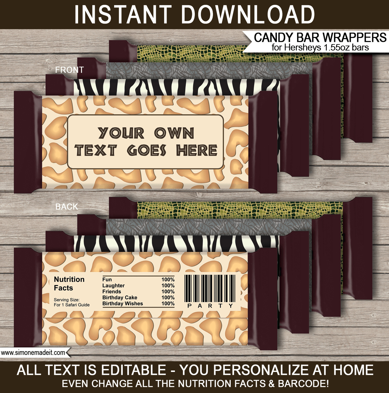 Hershey Bar Wrapper Template Safari Party Printables Invitations & Decorations