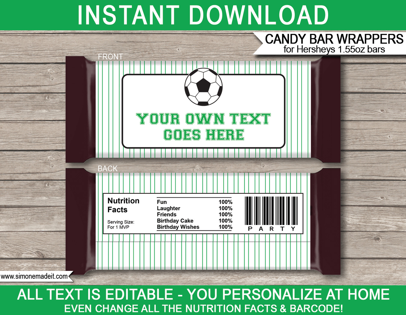 Hershey Bar Wrapper Template soccer Hershey Candy Bar Wrappers