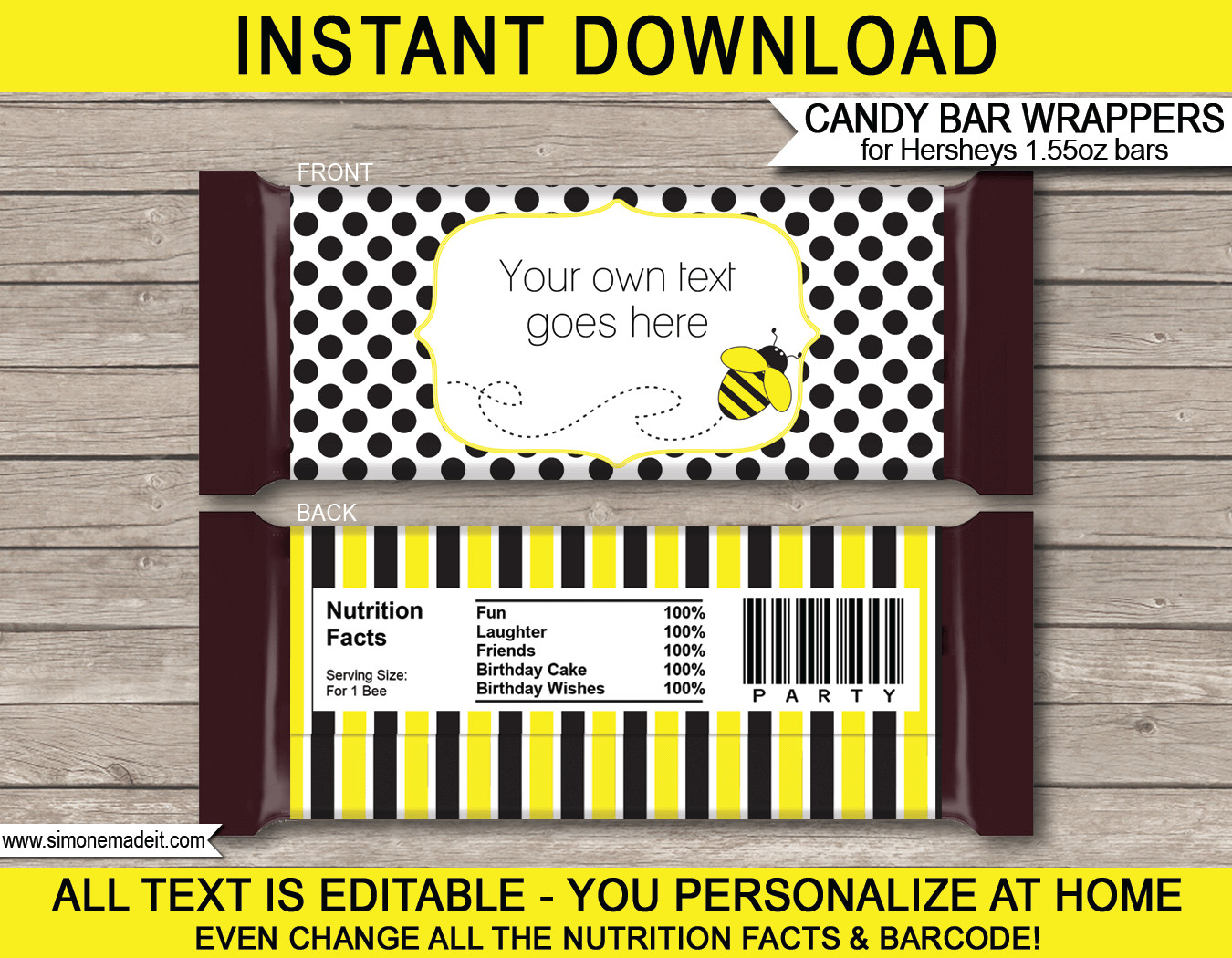 Hershey Candy Bar Wrapper Template Bee Hershey Candy Bar Wrappers