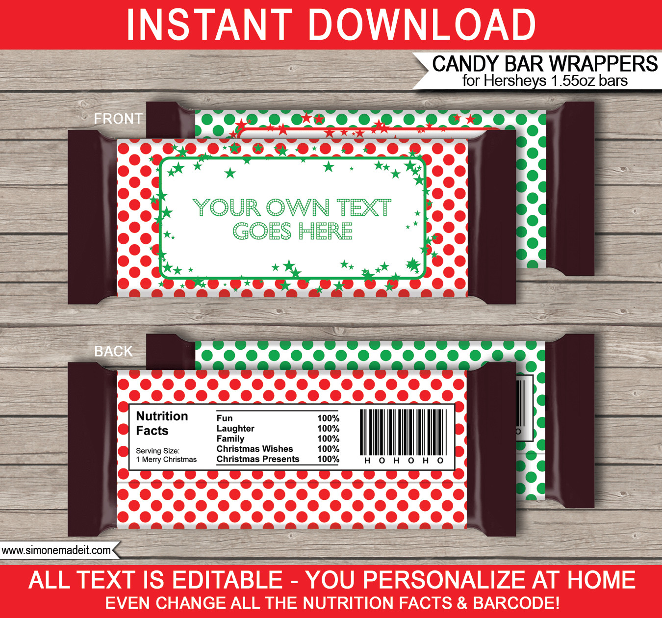 Hershey Candy Bar Wrapper Template Christmas Hershey Candy Bar Wrappers