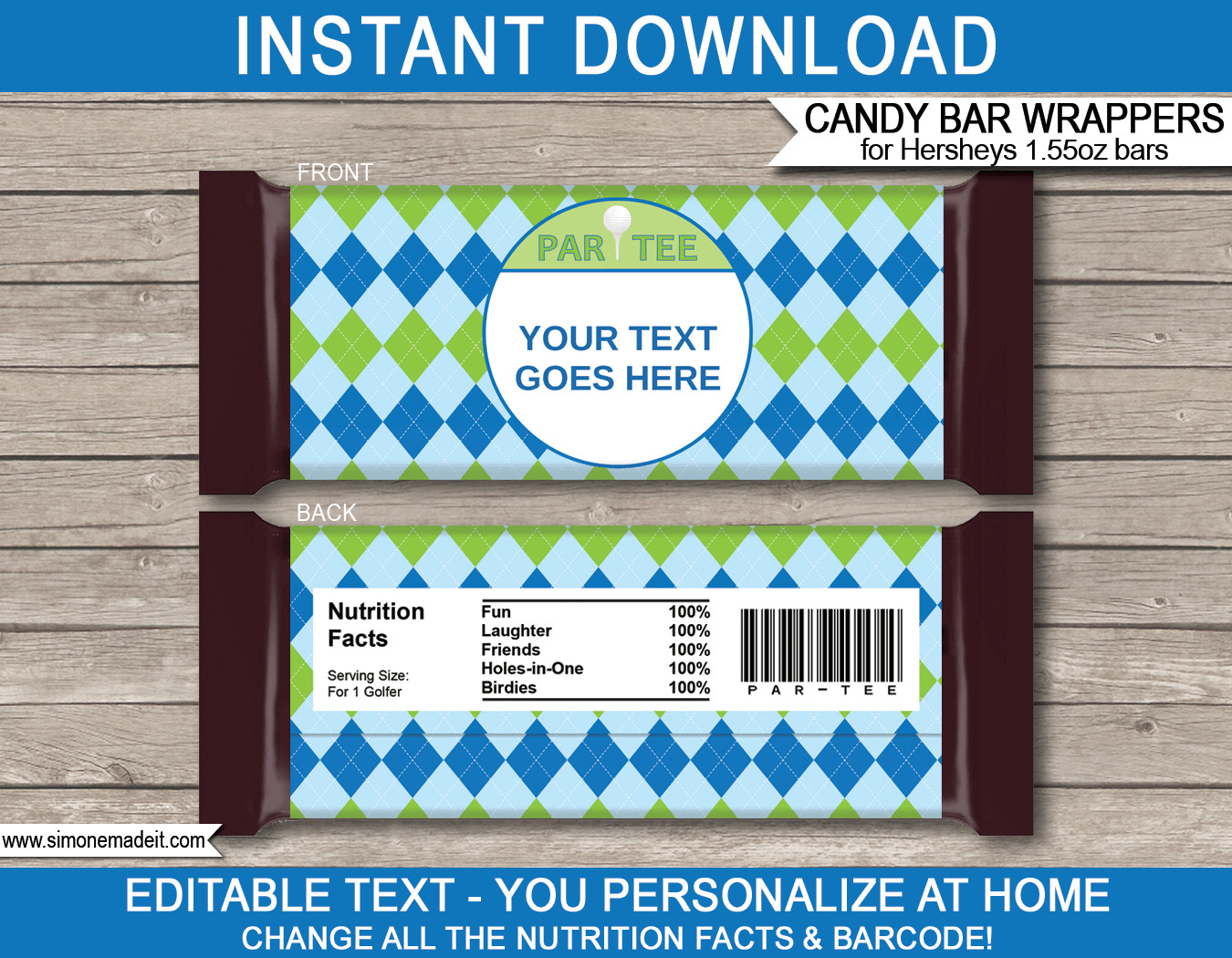 Hershey Candy Bar Wrapper Template Golf Hershey Candy Bar Wrappers
