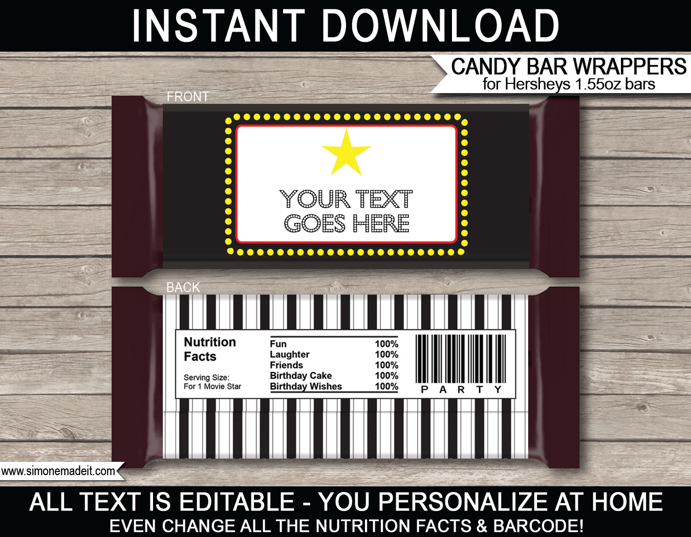 Hershey Candy Bar Wrapper Template Movie Hershey Candy Bar Wrappers