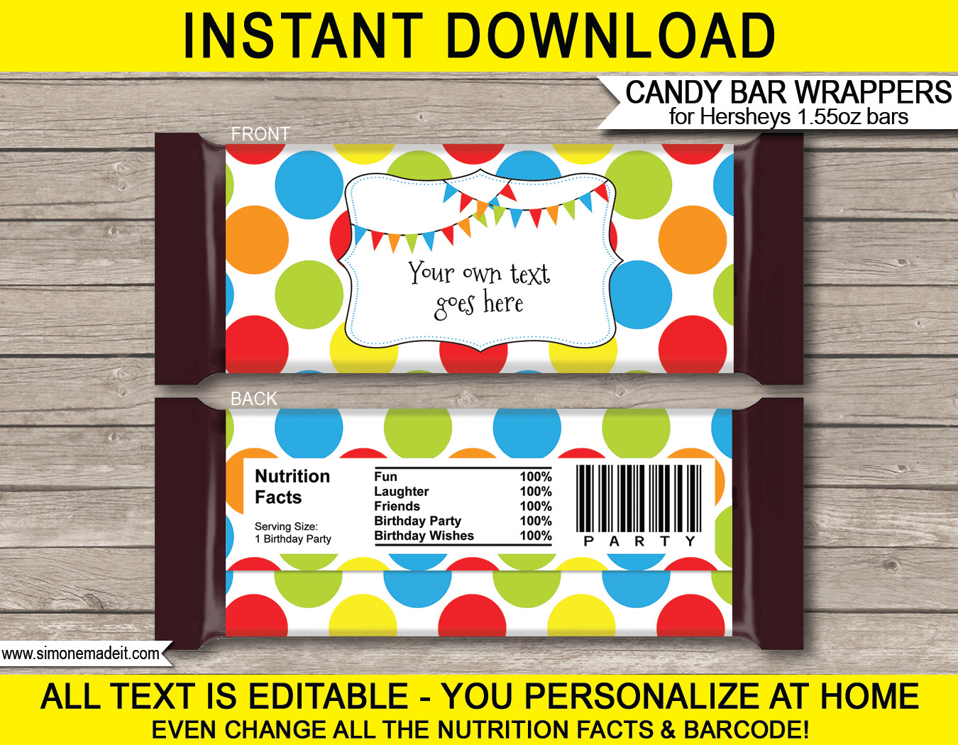 Hershey Candy Bar Wrapper Template Polkadot Hershey Candy Bar Wrappers
