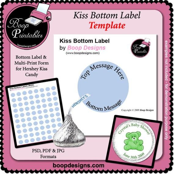 Hershey Kiss Labels Template Kiss Bottom Labels Template by Boop Printables